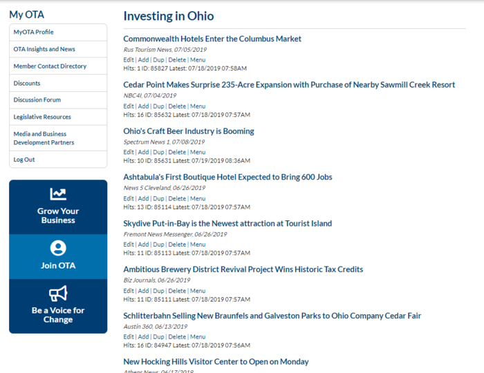 Investing in Ohio Archive on OTA Website