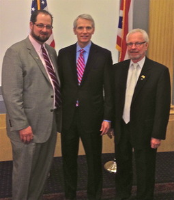 Sen. Rob Portman with OOA President Robert L. Hunter DO and OOA Executive Director Jon F. Wills