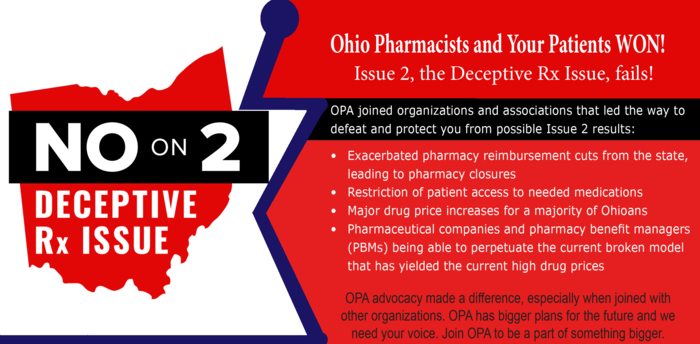 Ohio Pharmacists and Your Patients WON - Issue 2 is defeated