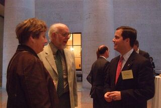 Pharmacists Faye and Tom Stahl left discuss pharmacy legislative issues with Senate Majority Whip Mark Wagoner.