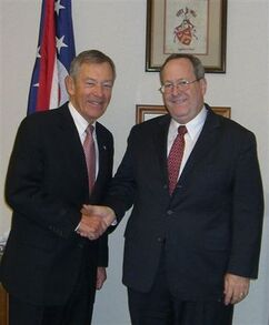 OPA Executive Director Ernest Boyd (right) thanks Senator George Voinovich, in his Cleveland office, for listening to pharmacists' concerns.