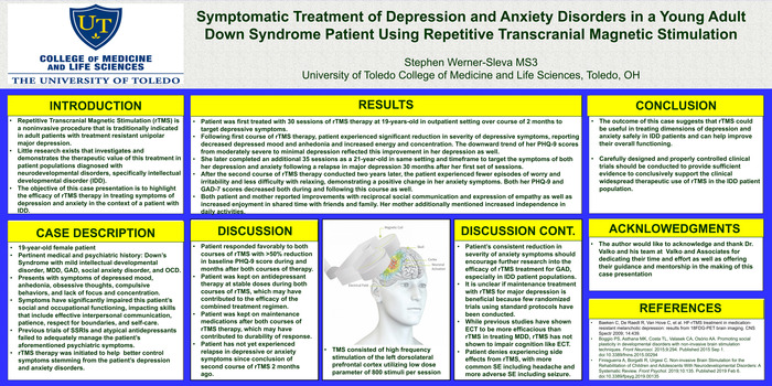 2nd Place Poster 11 Symptomatic Treatment Of Depression Anxiety Disorders In A Young Adult Down Syndrome Patient Using Repetitive Transcranial Magnet