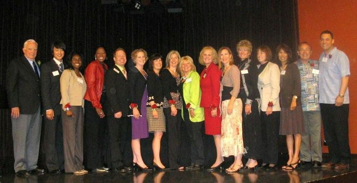 The group of United Airline Flight Attendants that were honored.