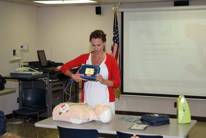 Linda with AED