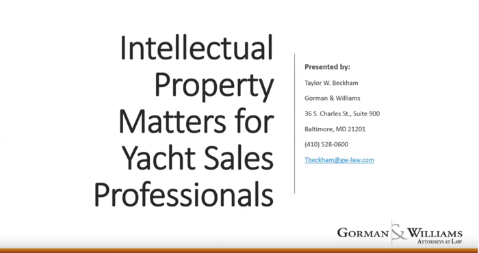 YBAA e-Seminar: Intellectual Property Matters for Yacht Sales Professionals